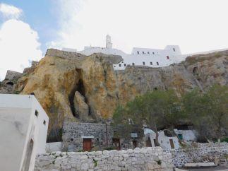 Mandraki Panagia Spiliani monastery inside crusader castle